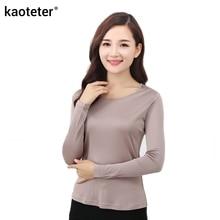 100% Murni Sutra Wanita Femme Lengan Panjang Kaos Kasual T Shirt Tops Leher O permen 7 Warna