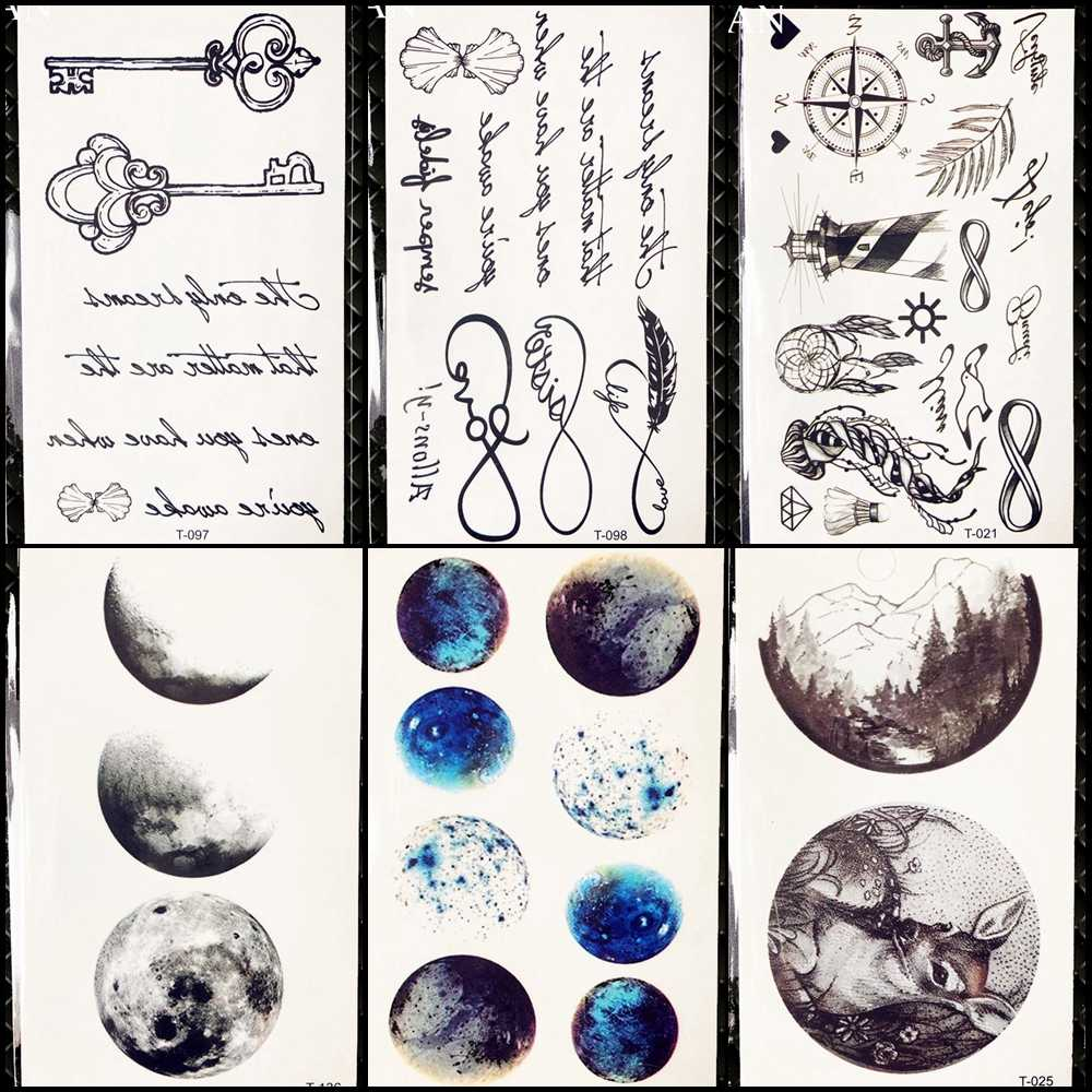 Black Words Tattoo Sketch Women Finger Temporary Tattoo 3D Moon Stickers  Endless Men Body Arm Art Drawing Planet Tatoos Infinity