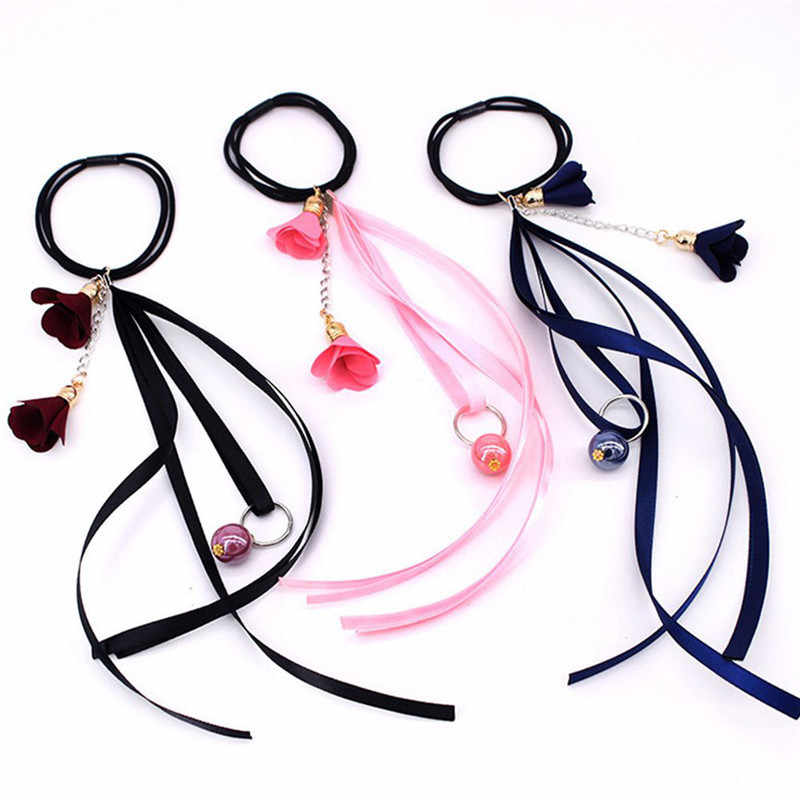 1 Pcs Simple Style Elastic Hair Bands Elegant Women Girl's Ribbon Flower Pearl Rubber Bands Ponytail Holder Hair Accessories