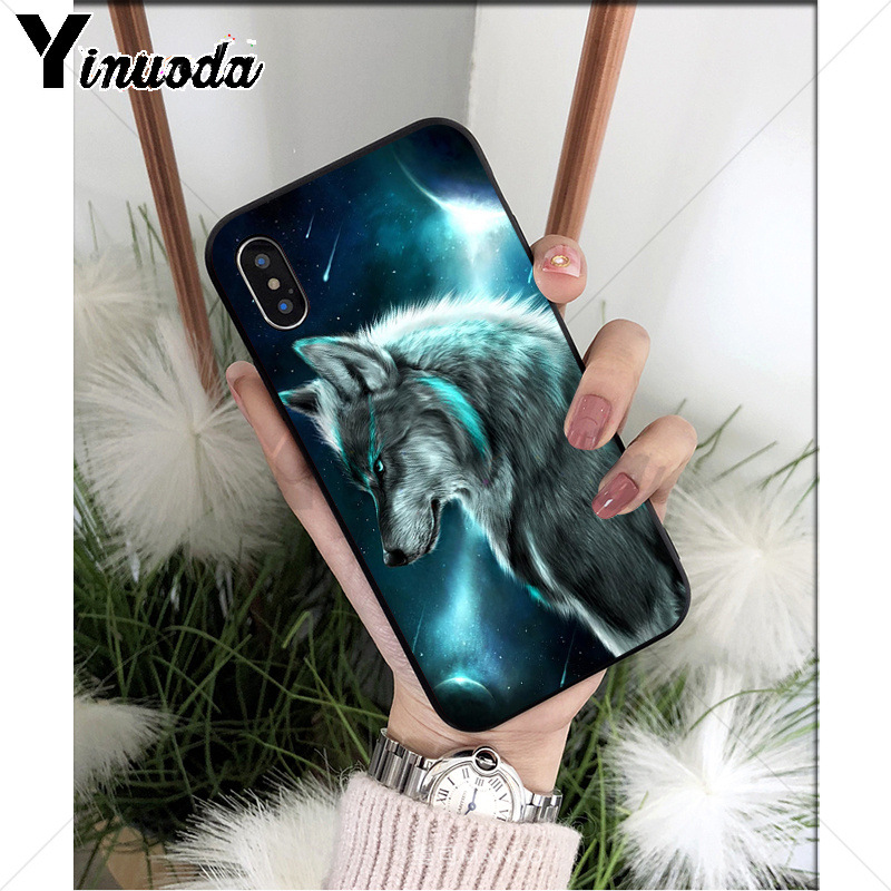 Yinuoda Moon roaring wolf TPU Soft Silicone Phone Case Cover for Apple iPhone 8 7 6 6S Plus X XS MAX 5 5S SE XR Mobile Cases in Half wrapped Cases from Cellphones Telecommunications