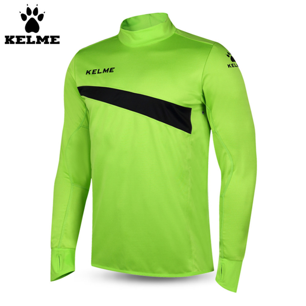Kelme K15Z304 Men Soccer Jerseys Polyester Stand Collar Sharkskin Training Long-sleeved Pullover Fluorescent Green цена