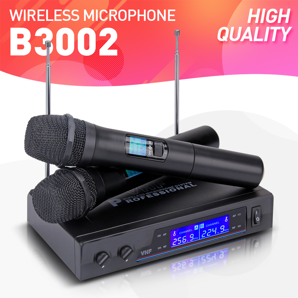 good quality v3002 vhf wireless dual handheld microphone mic system perfect for church. Black Bedroom Furniture Sets. Home Design Ideas