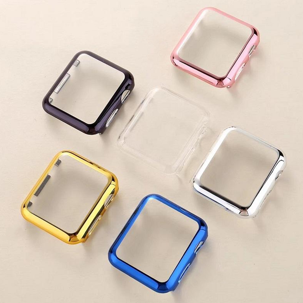 PC Cover For Apple Watch Case 42mm 38mm Series 3/2/1 Colorful Plating Frame Protective Case Cover For Iwatch Band Accessories