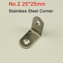 100 шт. 25*25*16 мм из нержавеющей стали угол l-образный кронштейн начесом рамка совета поддержка fruniture оборудования k241