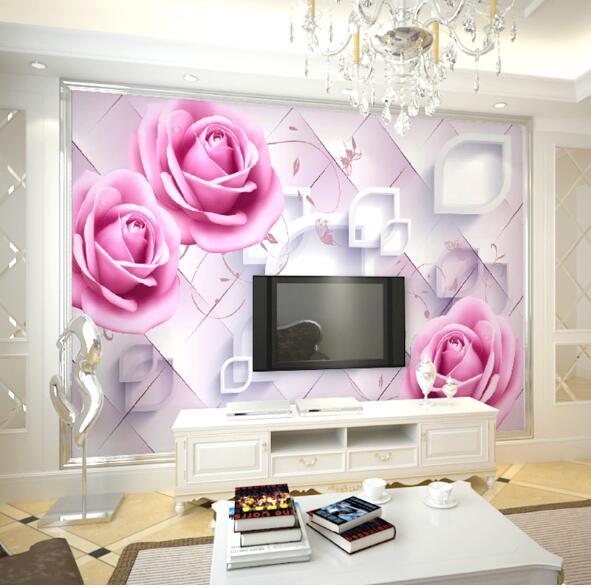 Rose flower Mural 3D Custom Photo Mural for Living Room Bedroom ...