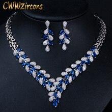 CWWZircons Lüks Beyaz Altın Renk Kraliyet Mavi CZ Taş Düğün Kolye Küpe Takı Setleri Gelin Elbise Aksesuarları T315