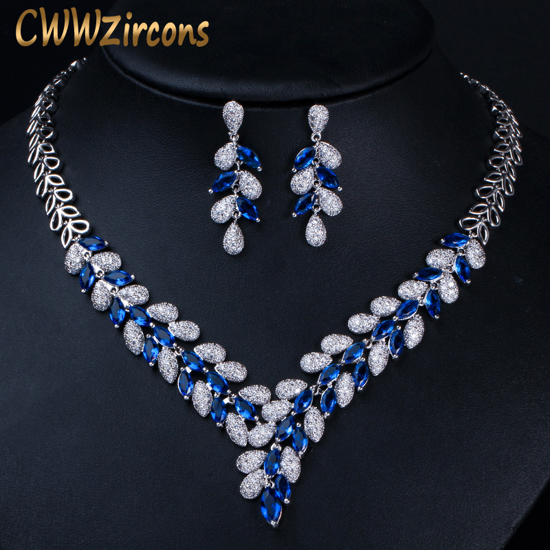 CWWZircons Luxury White Gold Color Royal Blue CZ Stone Wedding Necklace Earrings Jewelry Sets Bridal Dress Accessories T315CWWZircons Luxury White Gold Color Royal Blue CZ Stone Wedding Necklace Earrings Jewelry Sets Bridal Dress Accessories T315