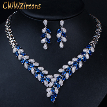 White Gold Settings | CWWZircons Luxury White Gold Color Royal Blue CZ Stone Wedding Necklace Earrings Jewelry Sets Bridal Dress Accessories T315