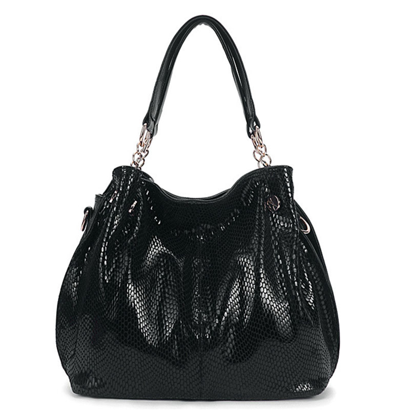 Hot Women Leather Serpentine Handbags High Quality Shoulder Bag Snake Embossed B