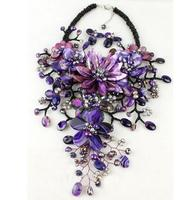 Wedding Flower Jewelry Set Amazing Purple Shell Flower Necklace Earrings Set Pearl Shell Crystal Beads Free Shipping