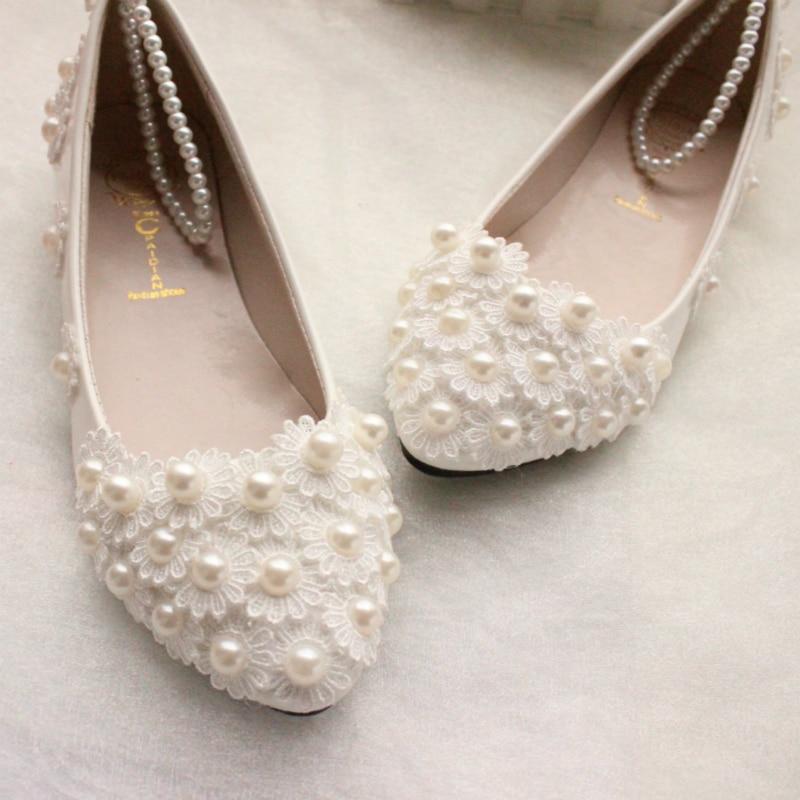 Ivory Lace Flat Bridal Shoes