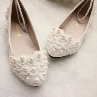 White Lace Pearls Women Wedding Shoes Flat Heel Sexy Pearls Bandage Women Bridal Shoes Big Size
