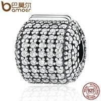 BAMOER Authentic 925 Sterling Silver Stopper Pave Barrel Clear CZ Clip Charms Fit Bracelet Women DIY