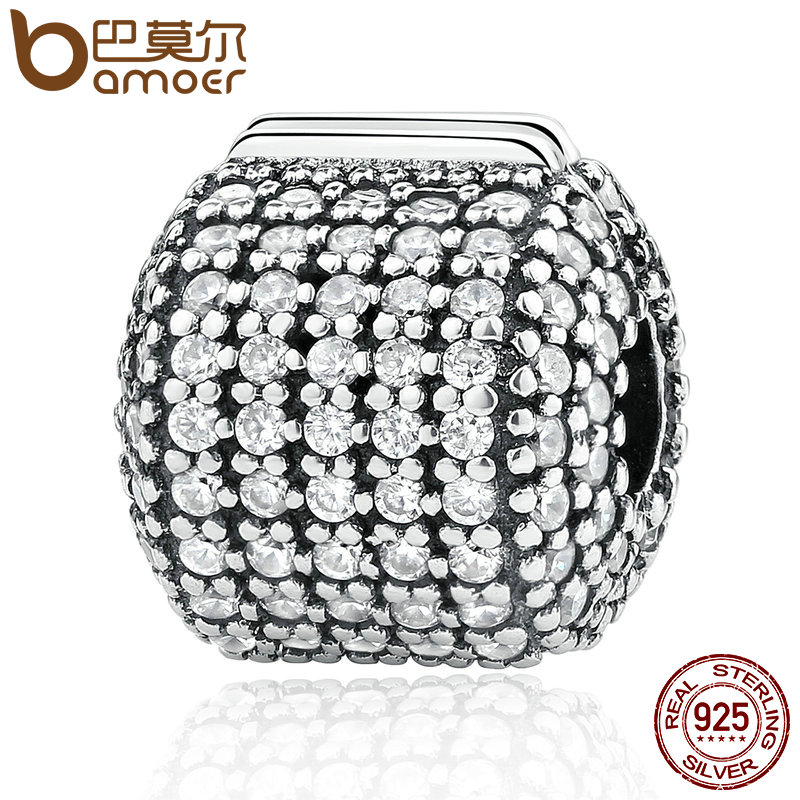 Authentic 925 Sterling Silver Stopper Pave Barrel, Clear CZ Clip Charms fit Bracelet Women DIY Fashion Jewelry PSC012