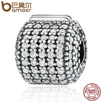 BAMOER Authentic 925 Sterling Silver Stopper Pave Barrel Clear CZ Clip Charms Fit Bracelet Women DIY