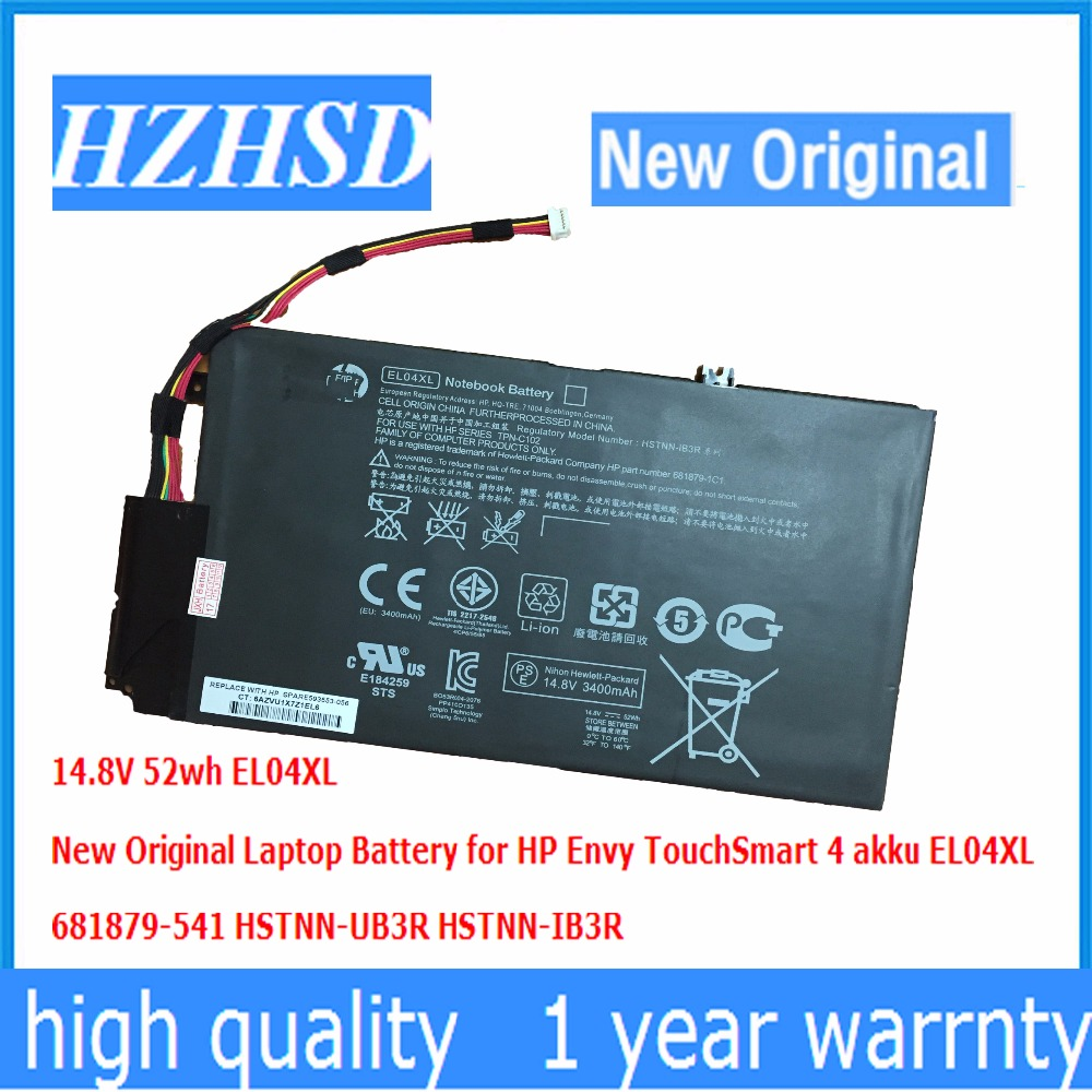 14.8V 52wh  New Original EL04XL Laptop Battery for HP Envy TouchSmart 4 akku EL04XL 681879-541 HSTNN-UB3R HSTNN-IB3R