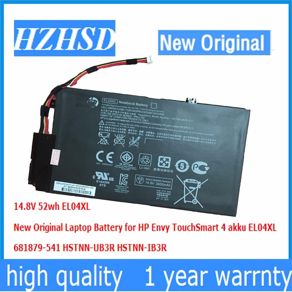 14.8V 52wh  New Original EL04XL Laptop Battery For HP Envy TouchSmart 4 Akku EL04XL 681879-541 HSTNN-UB3R HSTNN-IB3R