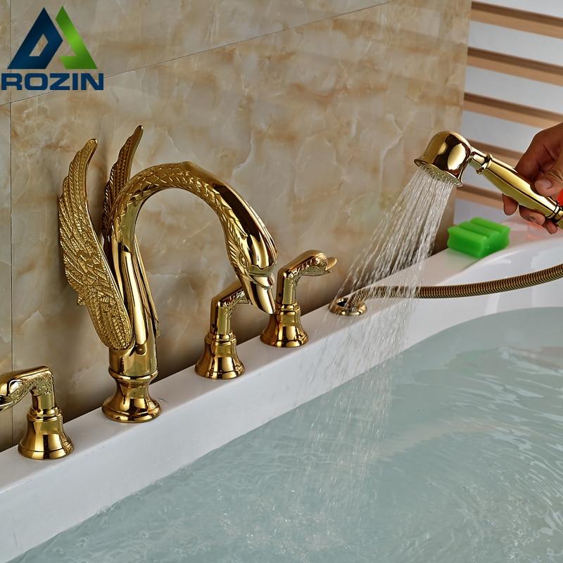 Best Quality Three Handle Bathtub Faucet Deck Mount with Handshower Tub Filler Swan Shape Golden three 100ml