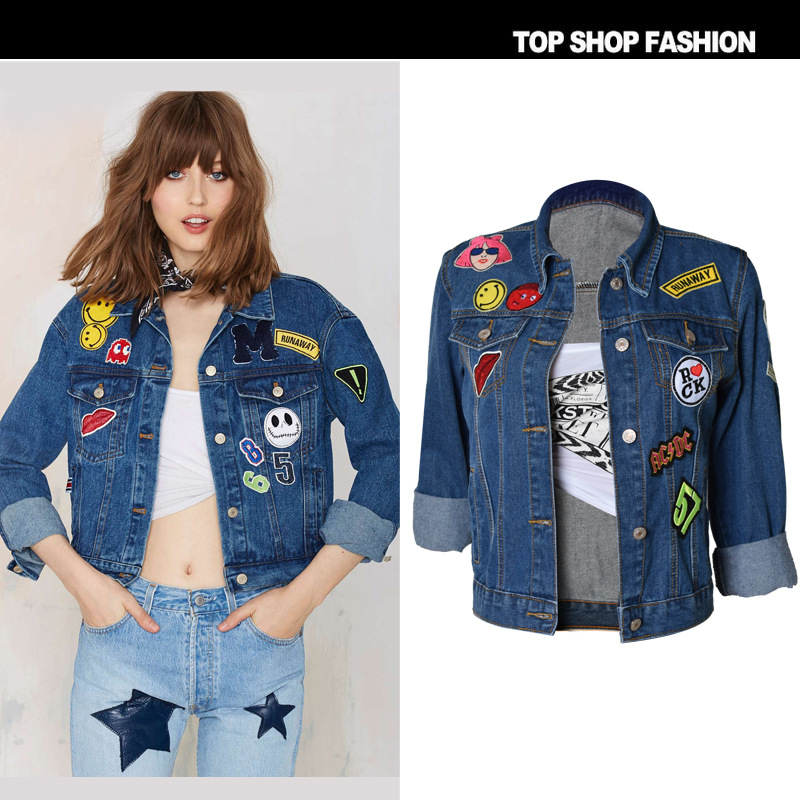 692b8e35fccb6 2017 new Fashion women s denim jacket cartoon Flowers Zipper Popular baseball  jacket stretch style women Coats T SL015-in Basic Jackets from Women s ...