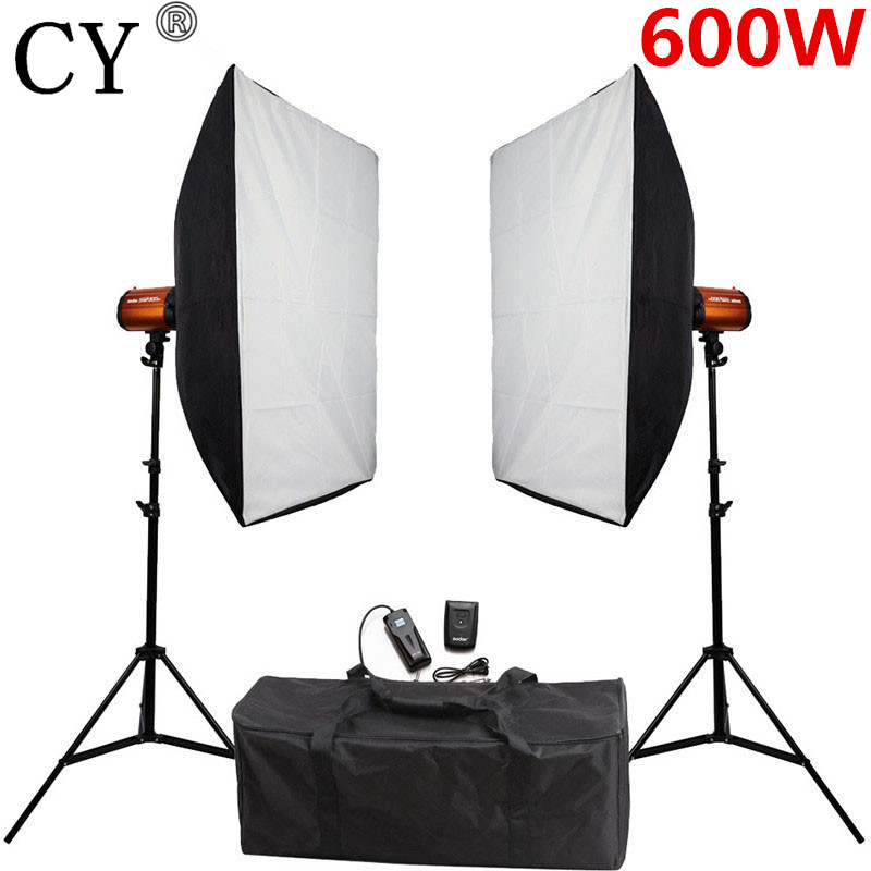 CY Photography Studio Soft Box Flash Lighting Kits 600ws Strobe Light+Softbox Stand Set Photo Studio Accessories Godox 300SD selens pro camera bags studio flash strobe lighting set trolley bag se xlpro