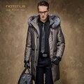 Inverno dos homens para baixo casaco masculino de médio-longo para baixo casaco forro coelho gola de pele de raposa de prata de alta qualidade de negócios para baixo outerwear parkas