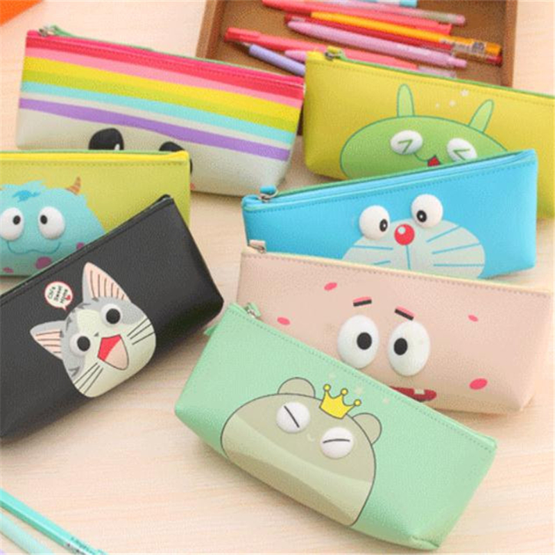 10pcs/lot Cartoon Pencil Case/Bag Fashion Mix Color 9 Styles Material Escolar Bags For Kids Doraemon/Cat/Bear Toys 18*8*4cm