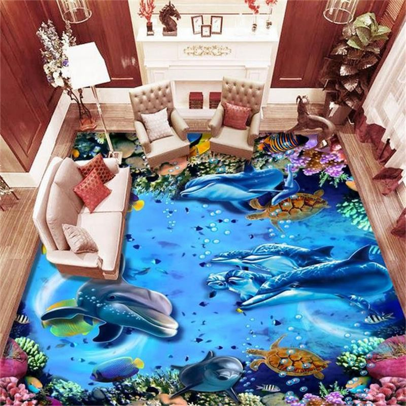 beibehang 3D Floor Wall paper Photo Wallpaper Undersea World tropical fish Floor Bathroom Self adhesive PVC Waterproof Wallpaper