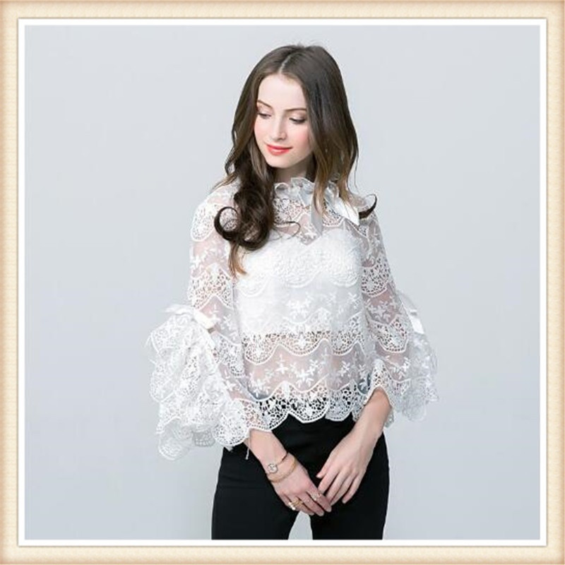 2019 Fashion Elegant Women Autumn White Top Hollow Out Embroidery Sheer Lace Shirts Transparent Flare Sleeve Bow Tie Sexy Blouse