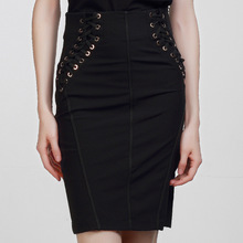 high quality 2016 new runway autumn fashion black skirt women's sexy pencil lace up slim skirt with hole black color