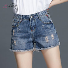 Brief Relate Shorts Girls Embroidery Pockets Light Blue Summer Denim Female Shorts Sexy Hot High Waist Fashion Slim Shorts(China)