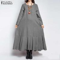 ZANZEA 2017 Women Vintage Long Sleeve Maxi Dress Fashion Solid O Neck Pockets Ruffles Loose Autumn