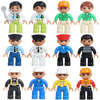 Big Particles Building Blocks City Profession figuren Policemen Doctor DIY Bricks Compatible With Duplo Accessory Toys BABY Gift 50pcs large particles numbers train building blocks bricks educational babycity toys compatible with duplo diy