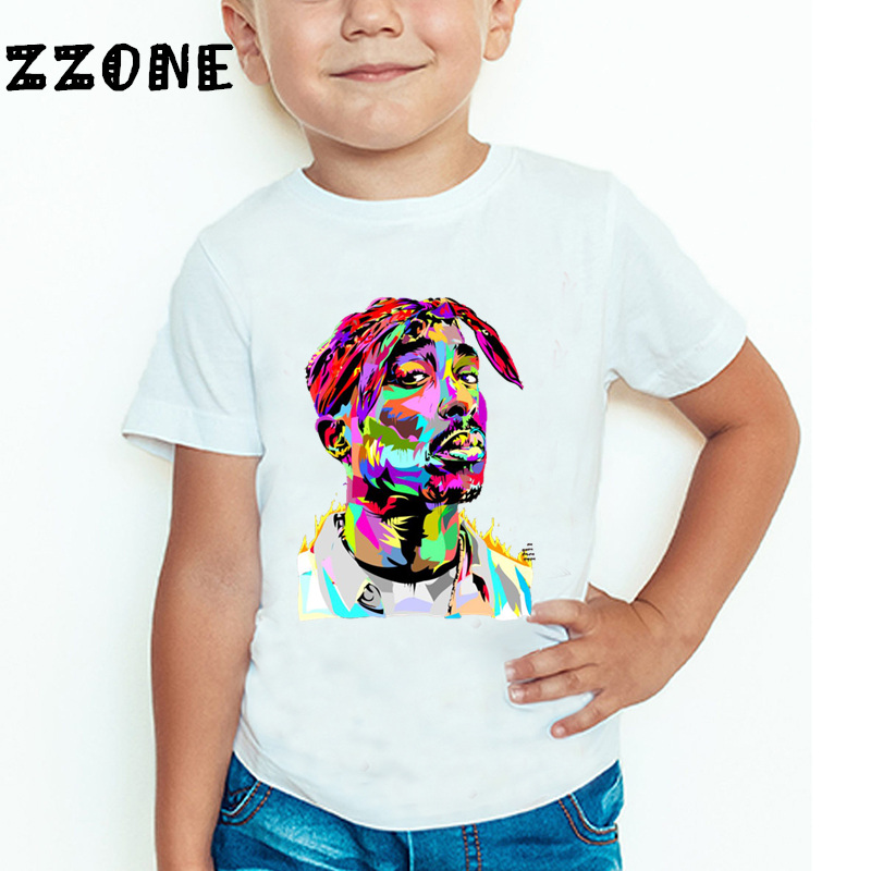 Children Tupac 2pac Hip Hop Swag Printed T-shirt Kids Baby Casual T shirt Girls/Boys Short Sleeve Summer Tops,HKP287 2016 summer boys short sleeved t shirt two piece children s sports suit camouflage uniforms boys