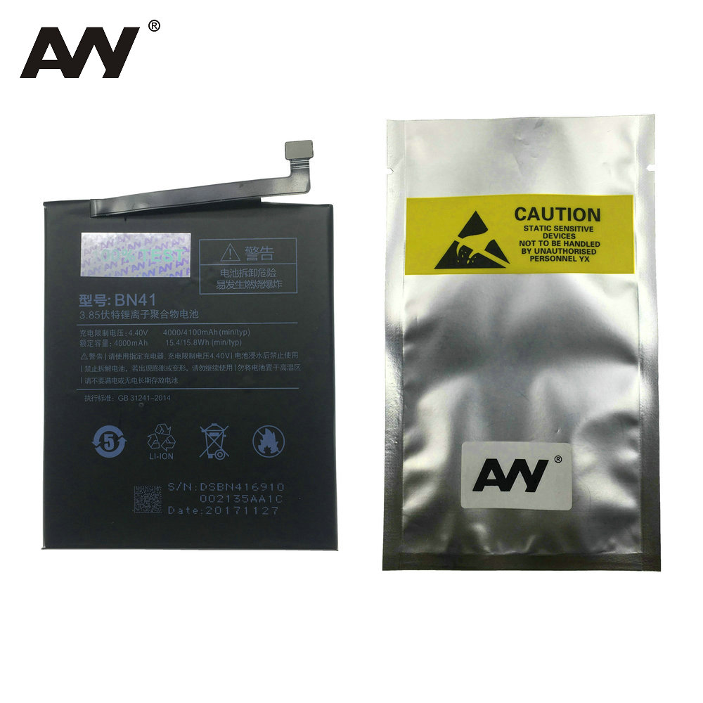 AVY Batterie BN41 Pour Xiaomi Redmi Note 4 MTK Helio X20/Redmi Note 4X Pro 4g + 64g Remplacement Li-ion Batteries 4000 mah 4100 mah