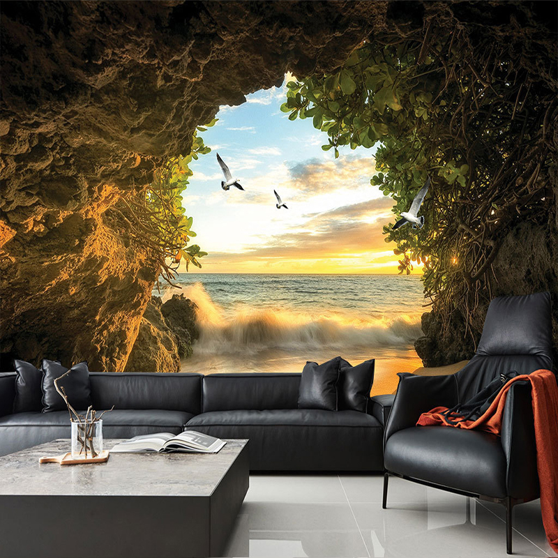 Custom 3D Photo Wallpaper Cave Nature Landscape TV Background Wall Mural Wallpaper For Living Room Bedroom Backdrop Art Decor custom green 3d large natural landscape living room tv background wallpaper mural fresh grass mountain animal sheep for walls