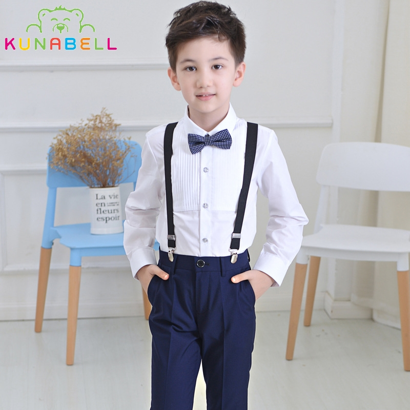 66a3a7325 Brand Flower Boys Gentleman Summer Wedding Overall Suits with Bowtie Formal  School Performance Suit Birthday Dress Bib Pants F49-in Clothing Sets from  ...