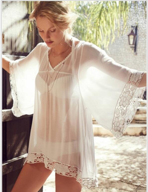 Chiffon tassel pendant beach Bikini beach skirt blouse V collar lace mosaic sunscreen