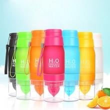 New 650ml Fruit Infuser Water Bottle H20 Plastic Lemon Juice Bottles With Tea infusion For Sport Travel Outdoor BPA Free orbea sport h20 2013