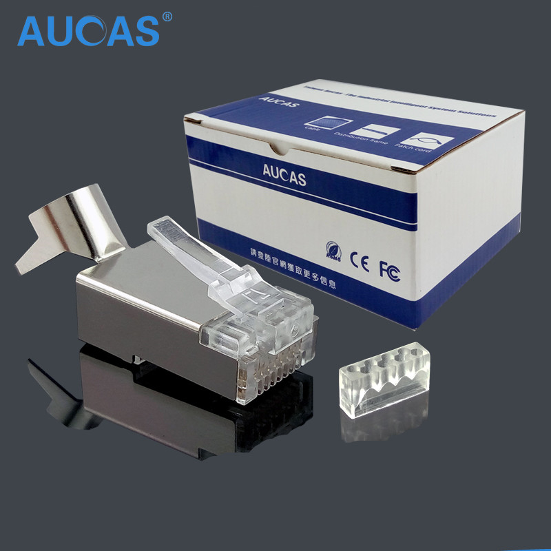 50PCS lot CAT7 RJ45 Connector Shield FTP RJ45 Plug 8P8C Network CAT7 Modular Plug Connector for