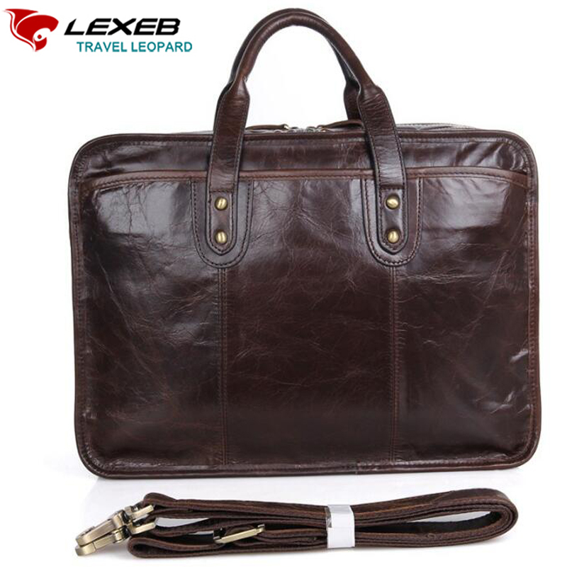 LEXEB Bran Men's Full Grain Leather Briefcase Office Documents Bag 15 Inch Laptop Double Zippers Open Two Main Bags Coffee lowepro protactic 450 aw backpack rain professional slr for two cameras bag shoulder camera bag dslr 15 inch laptop