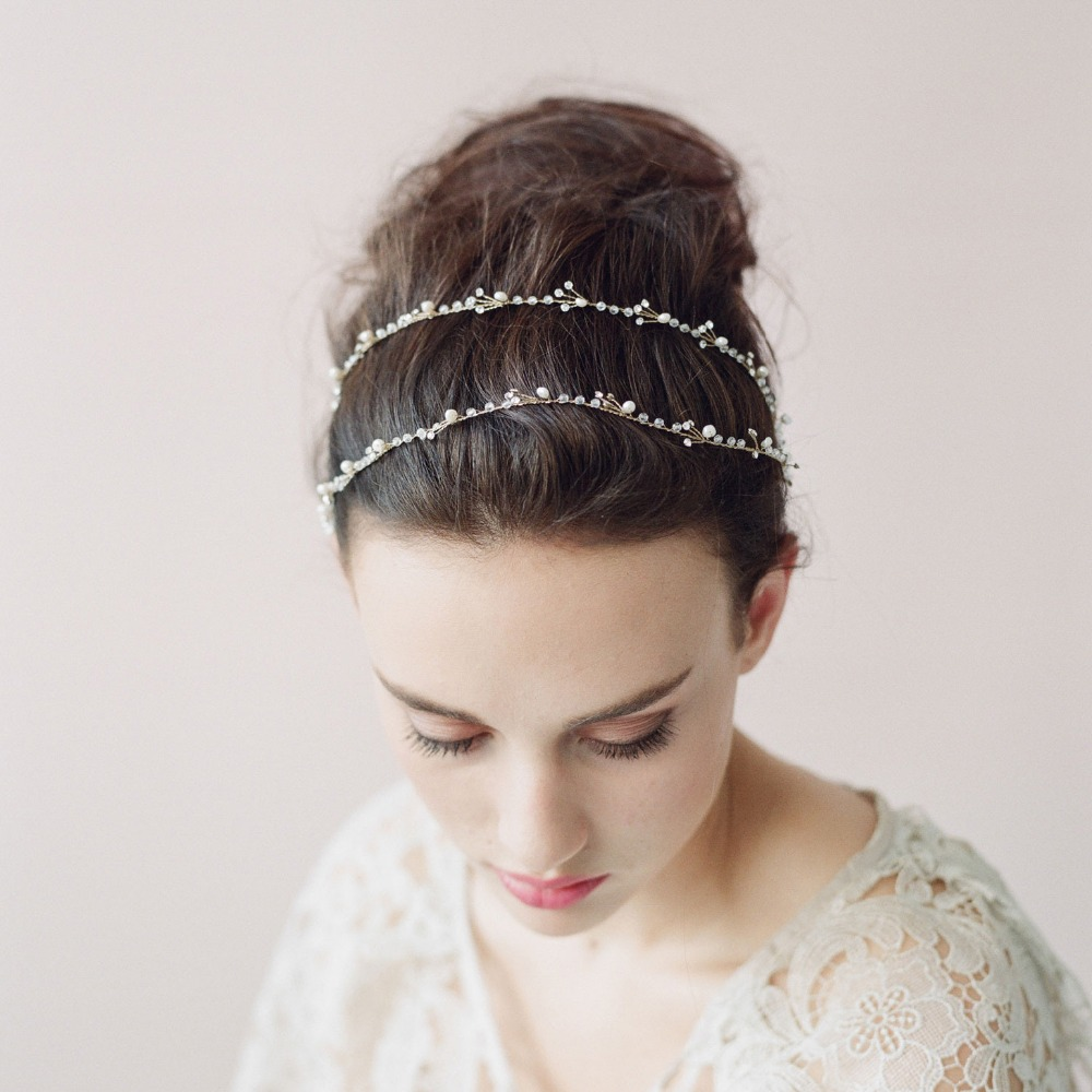 Handmade 2018 Romantic Crystal Pearl Provine Hair Bands Fashion Bridal accessories Twigs Wedding  Tiara Head Chain O010