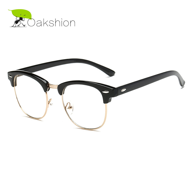 Fenck Classic Retro Clear Lens Nerd Frames Glasses Fashion Brand Designer Men Women Eyeglasses Vintage Half Metal Eyewear Frame a50AXZ