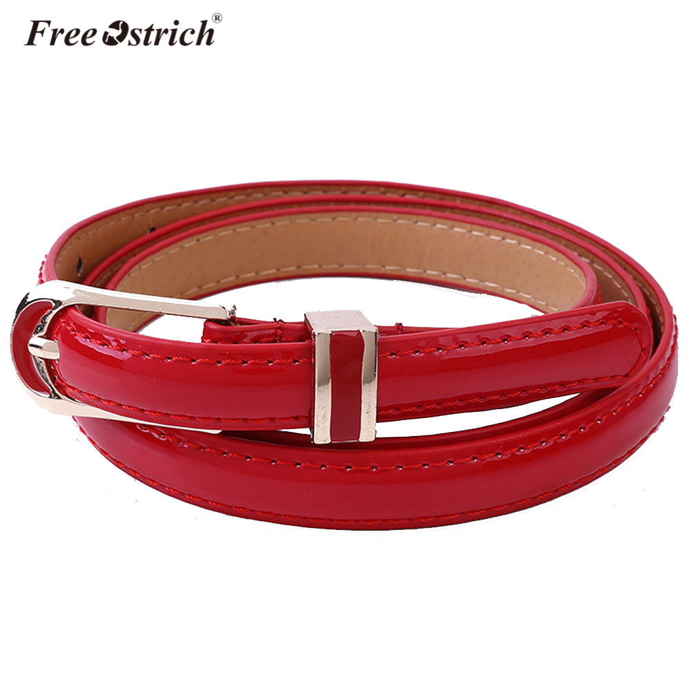 Free Ostrich PU Leather Women's Fashion Candy Color Lady Slim Thin Narrow Waist   Belt   Leopard Waistband A1220