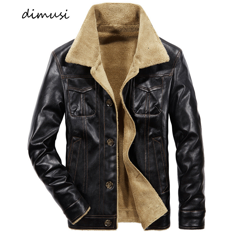 DIMUSI Winter Men's Leather Jacket Casual Male Thick Fleece Thermal Leather Coats Men Fur Collar Motorcycle Leather Jackets 6XL
