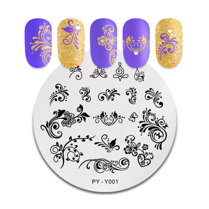 Image 3 - PICT YOU Nail Stamping Plate French Tips Printing Design Image Stamp Stainless Steel Round Shape Nail Art Templates Y001