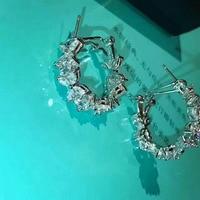 High Quality Brand Jewelry 925 jewelry silver Cute Zircon Earrings For Women Best Gift