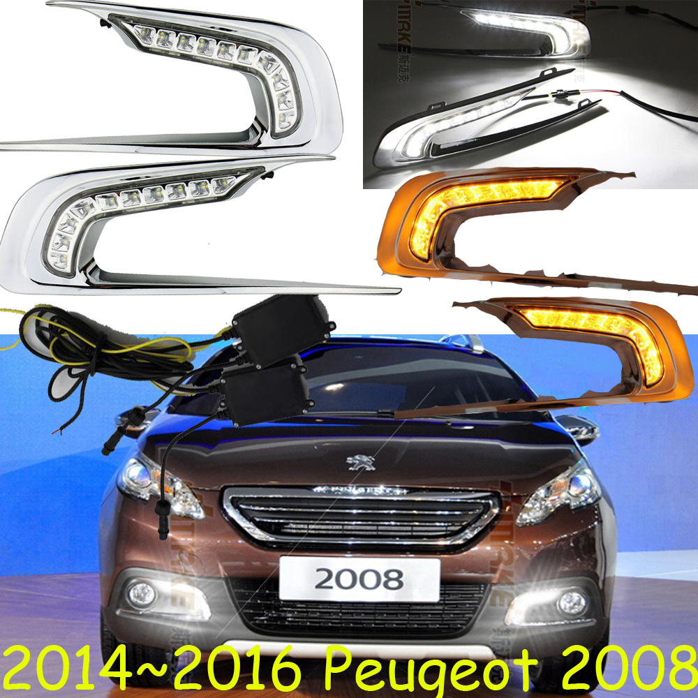 Peugeo 2008 daytime light;2014~2016, Free ship!LED,Peugeo 2008 fog light,2ps/set;Peugeo 308;3008;307,301,408,508,2008
