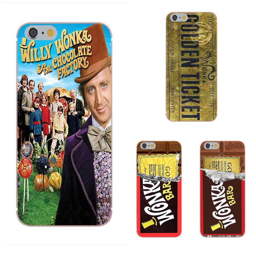 Oedmeb Voor iPhone 4 S 5 S 5C SE 6 S 7 8 Plus X Galaxy Note 5 6 8 S9 + Grand Core Prime Alpha Cover Willy Wonka Golden Ticket Charlie