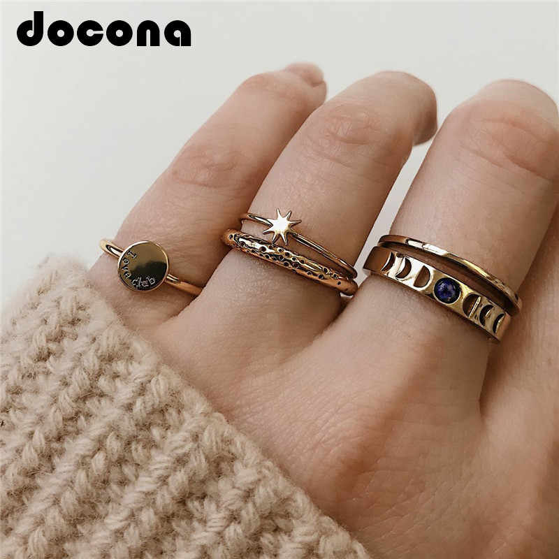 docona Gothic Gold Color Star Hollow Geometric Rings Set for Women Knuckle Midi Ring Engagement Ring Anillos Mujer 3778