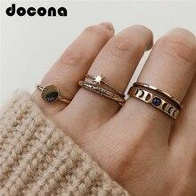 цены на docona Gothic Gold Color Star Hollow Geometric Rings Set for Women Knuckle Midi Ring Engagement Ring Anillos Mujer 3778 в интернет-магазинах